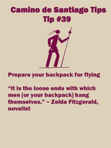 Camino Tips 39: Prepare your backpack for flying