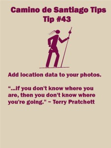 Camino Tips 43: Add location data to your photos.