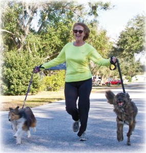 Elizabeth running with dogs