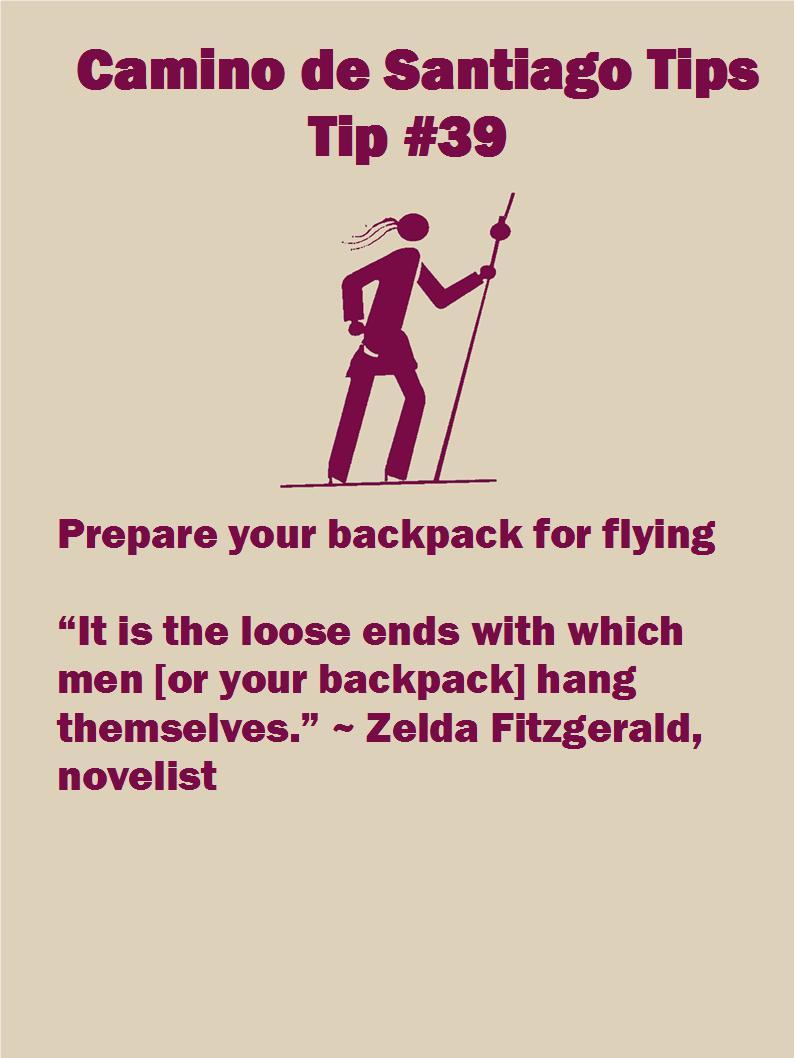 0ac8decec315 Camino Tip 39  Prepare your backpack for flying • Jane V. Blanchard